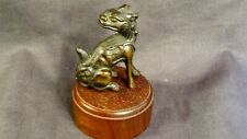New ListingOriental chinese bronze Fu dog on wooden stand.