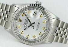 Rolex Men's Watch Vintage 1601 36mm Datejust Silver Dial w/ Diamonds