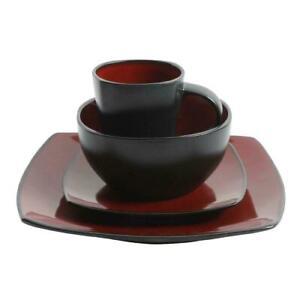 NEW Gibson Home Soho Lounge Square Stoneware 16-Piece Dinnerware Set FREE SHIPPI