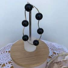 Black Enamel Beads set in Rhodium Metal Tubes Bracelet 22 cm Stretchy to Fit