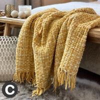 Luxury Woollen Touch Ochre Yellow Mustard Soft Large Blanket Throw Bed Sofa