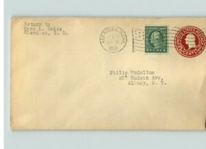 1918 3 cent War Rate cover, ABERDEEN, So. DAKOTA, to Albany, New York, Flag canc