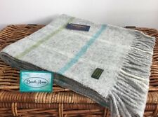 TWEEDMILL TEXTILES GREY TURQUOISE WINDOWPANE CHECK PURE WOOL KNEE BLANKET RUG