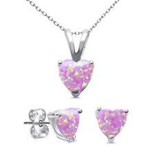 Pink Feuer Opal Herz Schnitt Ohrstecker Bestzte Ohrring Anhänger Halskette