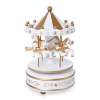 4-Horse Wooden Circus Carousel Music Box White Gold Kids Gifts Favors Decor