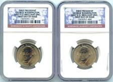 2 COINS 2007 P & D GEORGE WASHINGTON $1 FIRST DAY OF ISSUE NGC BRILLIANT UNC.