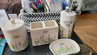 Rae Dunn Floral Bathroom 4 Piece Set WASH YOUR HAND/STUFF/WASH/THINGS