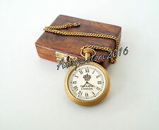 Nautical Brass Marine Roman Dial DOLLOND LONDON Pocket Watch With Wooden Box ...