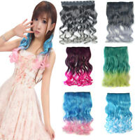 One Piece Curly/Wavy Synthetic Hair Piece Ombre Cosplay Clip In Hair Extensions