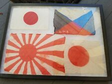 LOT OF 4 VINTAGE ORIGINAL WW2 IMPERIAL JAPANESE RISING SUN NAVAL SMALL FLAGS