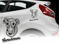 Aufkleber Galgo Espanol Windhund H188 Hundeaufkleber Wunschname Auto
