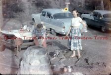 Lot of FOUR 1950s Picnic Out West Cars Coca Cola Cans 35mm Slide dd65