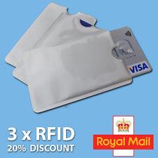 3x Protector mangas Bloqueante de RFID tarjeta de crédito titular de la tarjeta bancaria para Carteras Reino Unido