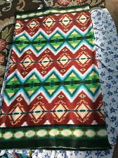 "AZTEC NATIVE AMERICAN INDIAN FLEECE FABRIC Tribal Diamonds Green, 60""w, SOLD BTY"