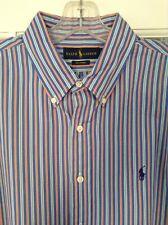 Ralph Lauren, XL, 120's Poplin, Blues Orange White Striped, Dress Shirt