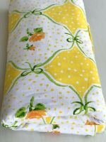 Vintage Flat Sheet Mod Retro Floral 40x96 Yellow Orange Green Roses Polka Dot