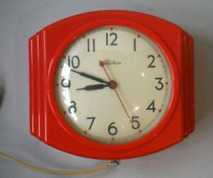 Vintage Telechron Red Art Deco Kitchen Wall Clock As Is, Needs re-wiring P888