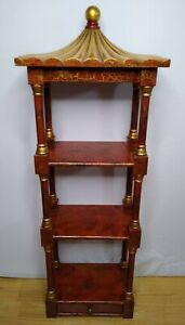 Chinoiserie Wall shelf pagoda form Étagère display shelf red and gold crackle
