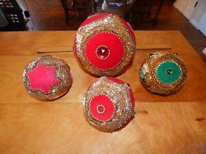 4 VINTAGE HANDMADE CHRISTMAS TREE ORNAMENTS - RED/GREEN VELVET SEQUIN BALL