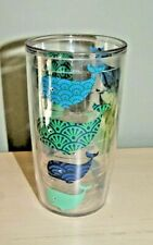 16 oz tervis tumbler - clear with blue and green whales