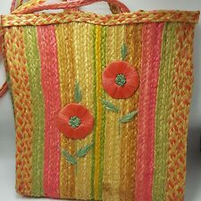 "Vintage Straw Pink Flower Tote Bag Purse Beach Large 17"" Braided Natural Woven"