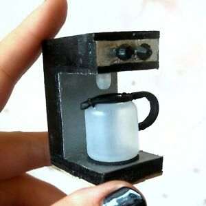 Miniature Coffee Machine With Pot and Water Hole. Dollhouse 1/6 Scale Handmade