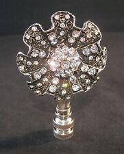 LAMP FINIAL-ANTQ. SILVER LARGE RHINESTONE BLOSSOM LAMP FINIAL-SATIN NICKEL BASE