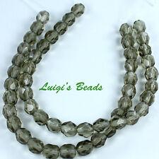 25 Black Diamond Czech Firepolish Faceted Round Glass Beads 6mm