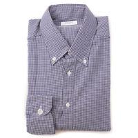 NWT $400 BOGLIOLI Slim-Fit Navy and White Houndstooth Cotton Shirt 16.5 x 36
