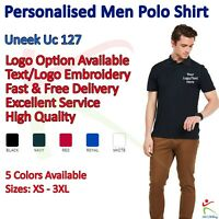 Personalised Mens Super Cool Poloshirt Custom Workwear Embroidered Uneek UC127