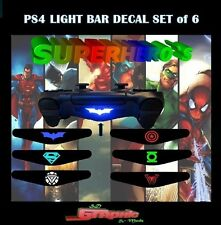 PS4 Controller Light Bar Decal Custom Vinyl Stickers 6x Super Heroes Set