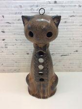 Mid Century Modern Pottery Cat Candleholder Lantern Patio Garden Danish Modern