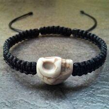 Men's shamballa bracelet skull charm stone bead braided cuff wristband jewelry