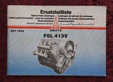 GENUINE KHD DEUTZ F6L 413V DIESEL ENGINE PARTS CATALOG MANUAL