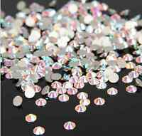 SS3-SS50 Crystal Clear AB Flatback Rhinestone Non Hotfix Nail Art Decoration DIY