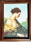 """Vintage Gem Stone Painting """" The Shy Lady """" Handmade Collectible Wall Decor"""