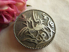 énorme bouton en aluminium ancien chimere à pied 3,7 cm Ref 1751