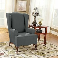 Sure Fit Stretch Suede Wing Chair Wingback Slipcover Carbon Gray Grey One Piece