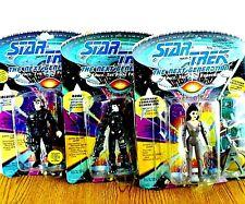 Lot of 3 Star Trek The Next Generation Action Figures 2Borg 1Crew w Accessories