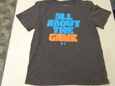 UNDER ARMOUR HEATGEAR  IT'S ALL ABOUT THE GAME GRAY T SHIRT  YOUTH LARGE LOOSE