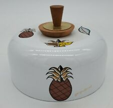 Vtg Mid-Century Georges Briard Pineapple Enamel Ware cover cheese lid butter