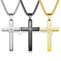 Mens Gold Stainless Steel Cross Crucifix Bible Prayer Pendant Necklace Chain 24""