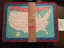 Travel Lap Desk for Kids USA Map with Storage Pocket