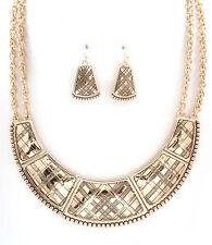 Gold Tone Scottish Pattern Bib Necklace and Earring Set - N09M