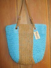 NEW* Magid Paper Straw PURSE HANDBAG BAG SHOPPER TOTE Large Stripe Tan Blue