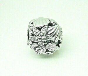 Authentic Pandora 798950C00 Openwork Starfish, Shells & Hearts Charm w/bag