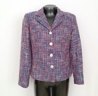 New ORVIS Womens Blazer-Sz.4 Blue Multi Color Polyester 4 Button Blazer-Lined