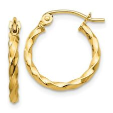 Twist Polished Hoop Earring Real 14kt Yellow Gold