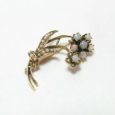 1960s Vintage 14K Yellow Gold Natural Opal And Pearl Flower Brooch 0.50 Cts