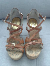 Michael Kors Brown Cork and Leather Strappy Wedges, size 6M